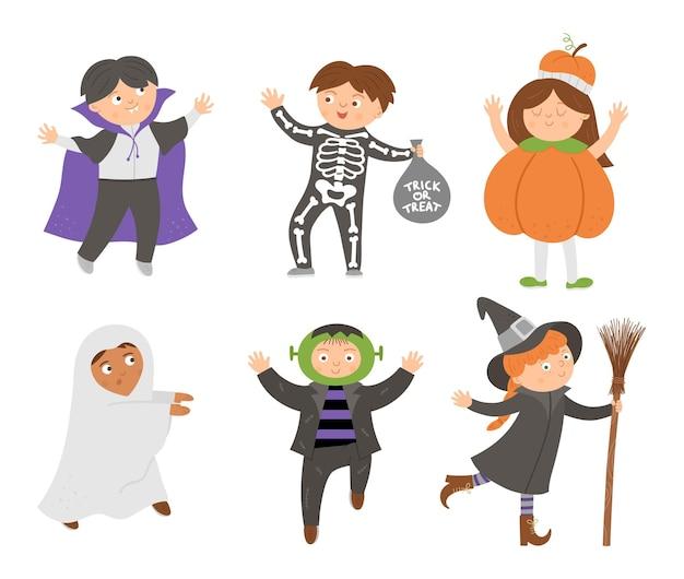 かわいいベクターハロウィンキャラクターのセットです。怖い衣装コレクションの子供たち。吸血鬼、幽霊、カボチャ、フランケンシュタインと面白い秋すべての聖人の前夜のイラスト。サムハインドレスパーティーデザイン。