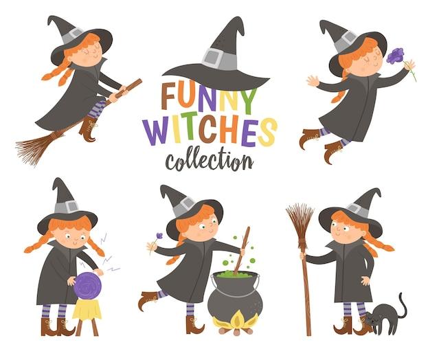 かわいいベクトル魔女のセットです。ハロウィンキャラクターアイコンコレクション。面白い秋すべての聖人の前夜のイラスト、ほうきの女の子、大釜、猫、魔法のボール。子供のためのサムハインパーティーサインデザイン。