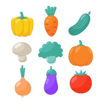 Набор милых овощных иконок в стиле каваи, изолированные на белом.