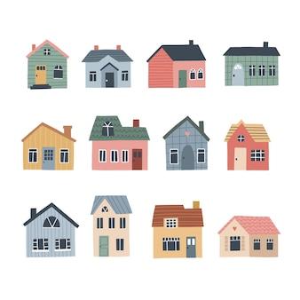 かわいい村の家のセット。 hそして地図、ポスターまたはパターンのベクトル図を描いた。