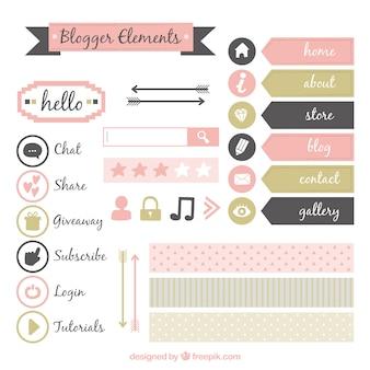 かわいいヴィンテージブログの要素のセット