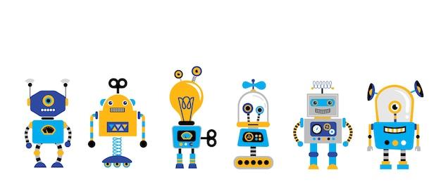 Набор милых старинных роботов