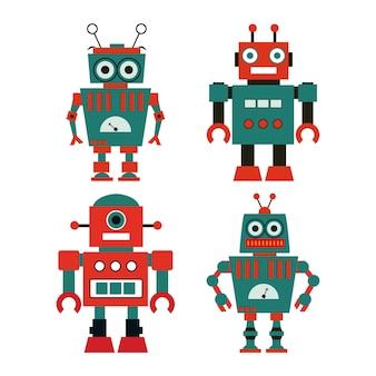Набор милых старинных роботов.