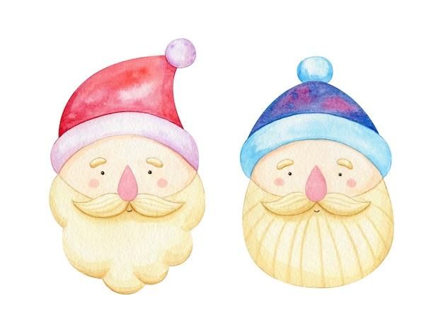 かわいい水彩サンタクロースの顔のセット