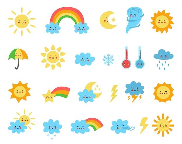 만화 스타일의 귀여운 날씨 요소의 집합입니다. 유치한 삽화의 컬렉션입니다.