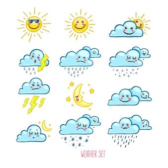 귀여운 날씨 아이콘 세트입니다. 손으로 그린 그림
