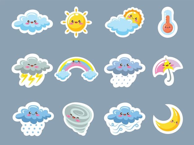 かわいい天気アイコンステッカースタイルの漫画のキャラクターとイラストのセット