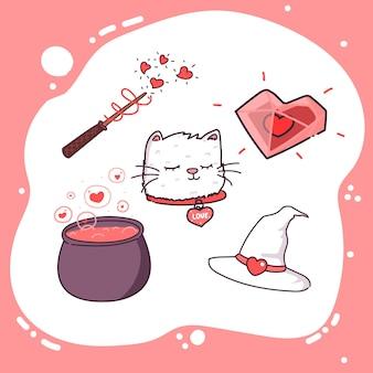 귀여운 마녀의 발렌타인 세트입니다.