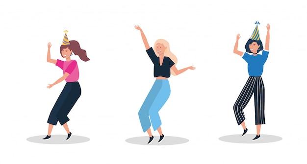 Набор милых женщин, танцующих с партийной шляпой