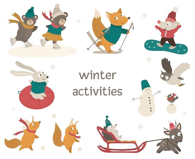 冬の活動をしているかわいい森の動物のセット。スキー、スケート、そり、スノーボード、雪だるまの面白いキャラクター。