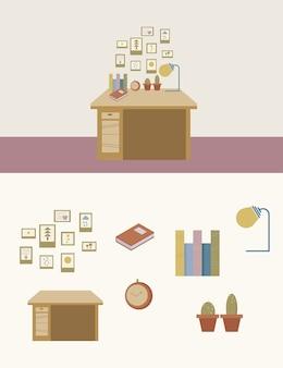 かわいい仕事部屋のベクトルのセット。