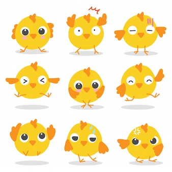 Set of Cute yellow birds