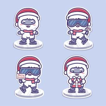 귀여운 설인 크리스마스 캐릭터들이 얼음 블록에 있는 아이스 스케이팅을 합니다. 귀여운 만화 벡터