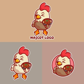 Набор логотипа талисмана cutechicken katsu с дополнительным оформлением.
