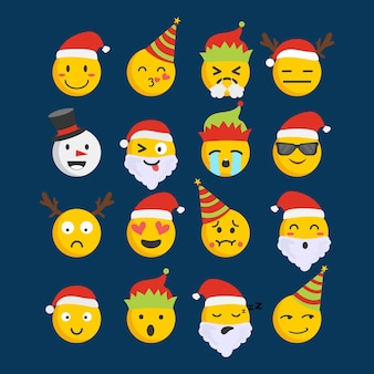メリークリスマスのかわいい絵文字アイコン表情顔のセットです。反応のための現代の顔文字。フラットスタイルのベクトル図です。