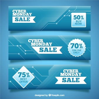 Set of cyber monday abstract banners