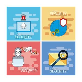 Набор значков кибербезопасности Premium векторы