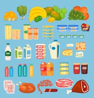 Набор ежедневных продуктов питания в стиле flat
