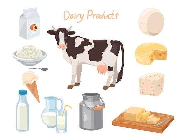 乳製品と分離された牛のセット
