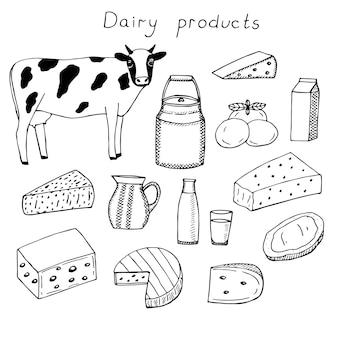 Набор молочных продуктов векторные иллюстрации, рука рисунок каракулей