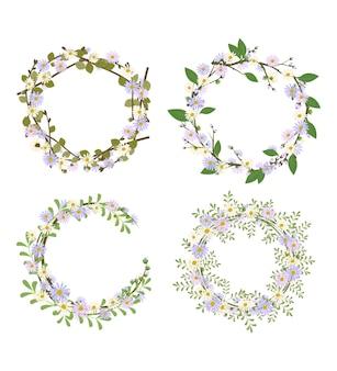 デイジーリースのセット。丸いフレーム、かわいい紫と白の花のカモミール