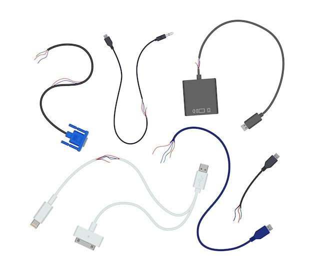 Комплект поврежденных проводов и usb-кабелей
