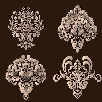 Набор элементов орнамента из дамасской стали. элегантные цветочные абстрактные элементы для дизайна.