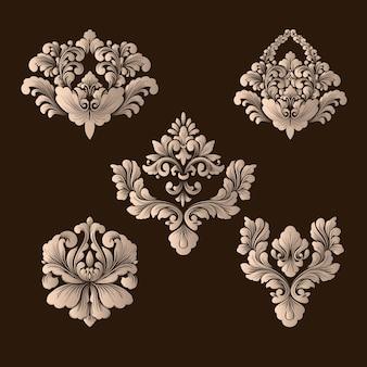 Набор декоративных элементов из дамасской стали.