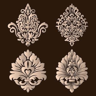 Набор элементов орнамента из дамасской стали.