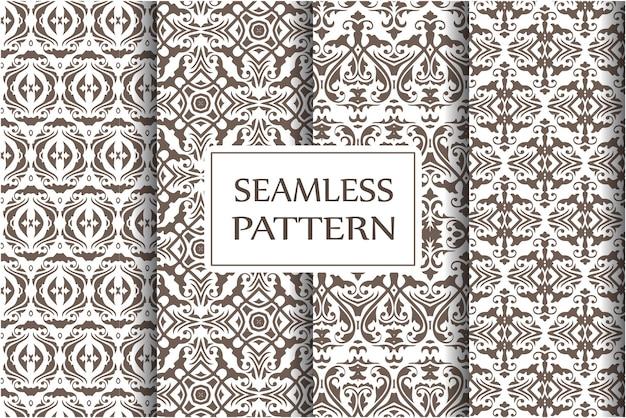 ダマスク織のシームレスなパターンの背景のセットです。古典的な豪華な昔ながらのバロック様式の装飾品