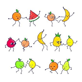 踊る面白いフルーツのセットです。
