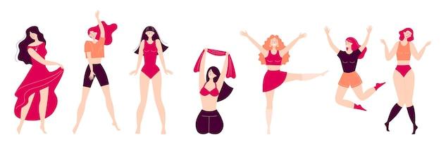 踊る幸せな若い女性のセットです。ディスコ、スポーツ活動、フィットネス、運動。あなた自身とあなたの体への愛。白い背景で隔離のフラットスタイルのイラスト