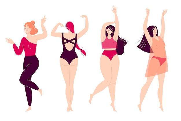 춤추는 행복한 젊은 여성의 집합입니다. 디스코, 스포츠 활동, 피트니스, 운동. 자신의 몸에 대한 사랑.