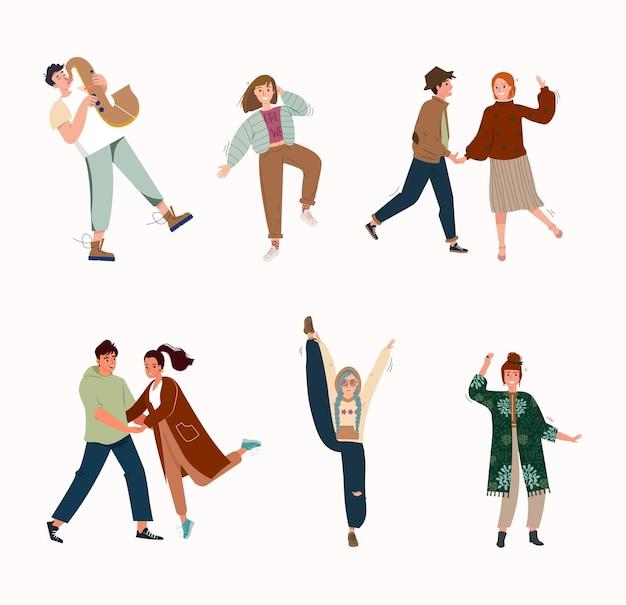 디스코 파티 또는 음악 축제 평면 벡터 일러스트레이션에서 재미있는 춤을 추는 사람들의 집합