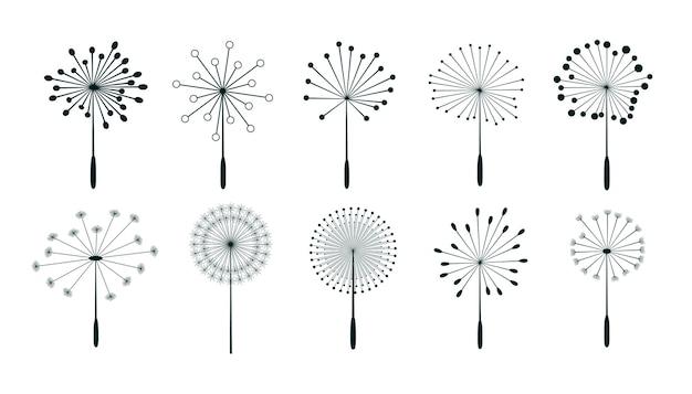 민들레 꽃 씨앗 디자인의 세트