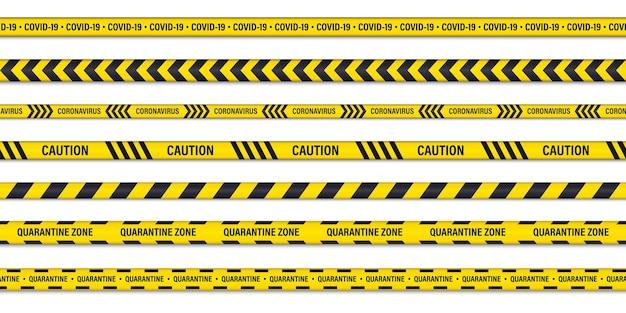 위험 또는 경고 주의 원활한 테이프 세트입니다. 검역 주의 테이프. 코로나바이러스 위험 줄무늬. covid-19 위험, 주의 테이프. 새로운 코로나바이러스 발생, 글로벌 잠금, 바이오하자드