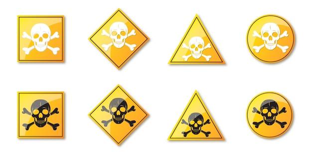 危険の兆候のセット。人間の頭蓋骨の警告記号。黄色のハザードサイン