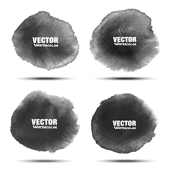현실적인 종이 수채화 텍스처와 흰색 배경에 고립 된 어두운 회색 검은 수채화 원형 얼룩의 집합입니다. 해당 회색 활기찬 지점. 가벼운 세척 드로잉 타원형 디자인을 흐리게합니다.