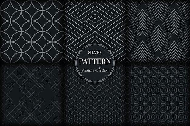 Набор темной серебряной линии геометрическим рисунком
