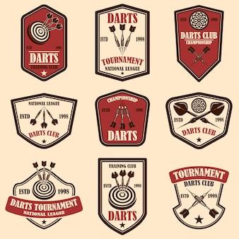 ダーツクラブのラベルテンプレートのセット。ロゴ、ラベル、サイン、ポスター、tシャツのデザイン要素。