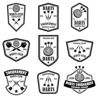다트 클럽 레이블 템플릿 집합입니다. 로고, 레이블, 기호, 포스터, 티셔츠 디자인 요소입니다.