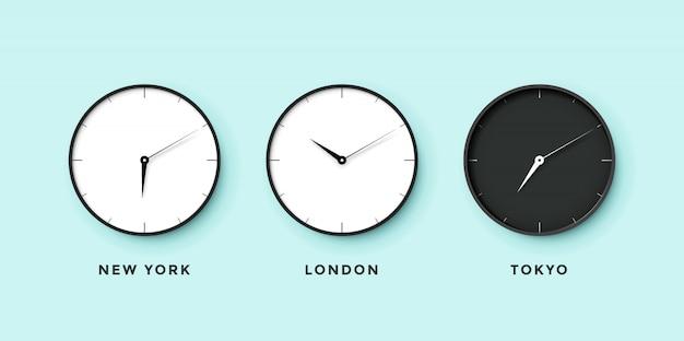タイムゾーンの異なる都市の昼と夜の時計のセット