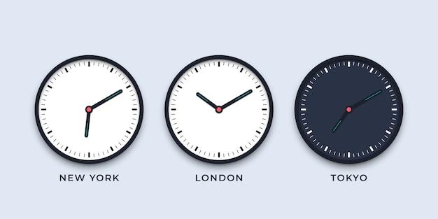 タイムゾーンが異なる都市の昼と夜の時計のセット Premiumベクター