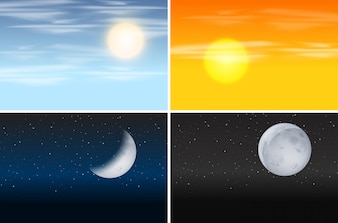 Set of day and night scenes