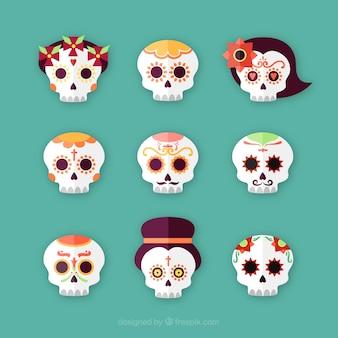 Набор день мертвых мексиканских черепов
