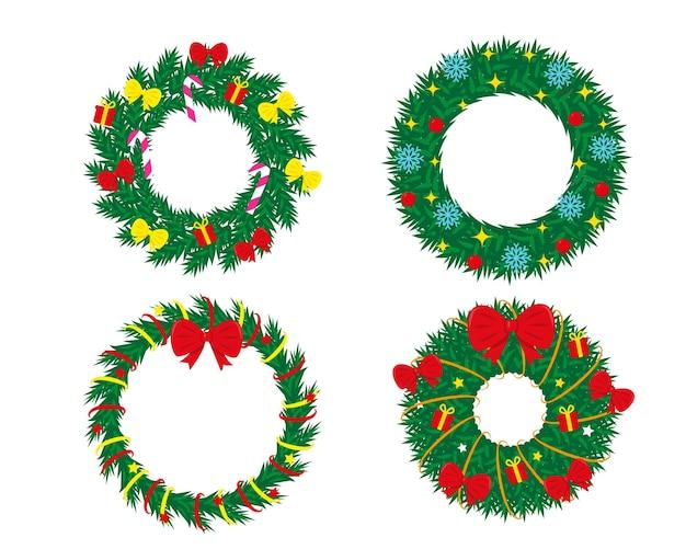 Набор украшенных рождественских венков на белом фоне
