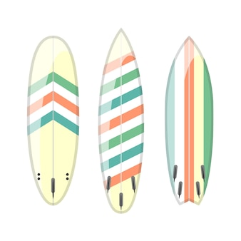 장식 된 화려한 서핑 보드의 집합입니다. 다른 모양 및 유형 흰색 배경에 고립입니다. 서핑 보드