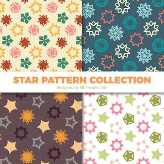 Set of decorative abstract shapes stars patterns