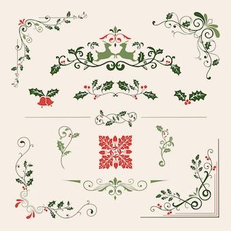 Набор декоративных рождественских дизайнов для векторных карт