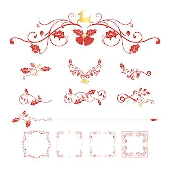 카드 벡터 장식 크리스마스 디자인의 세트